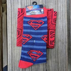 DC Superman Crew Socks with Bandana NWT